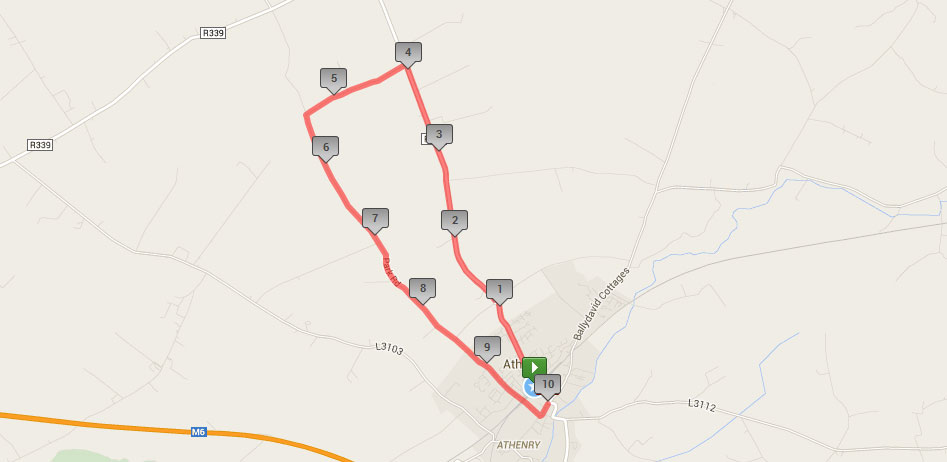 Fields of Athenry 10k route